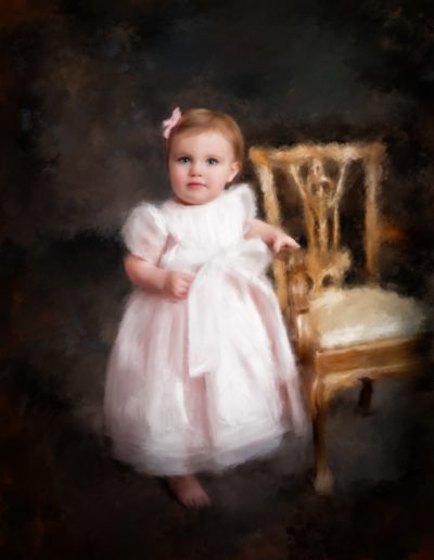 Painting of a toddler standing next to an old chair