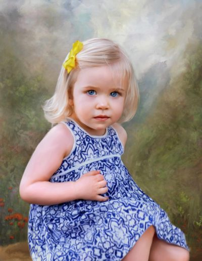 Painted portrait of little blonde girl wearing a blue and white dress sitting on a rock