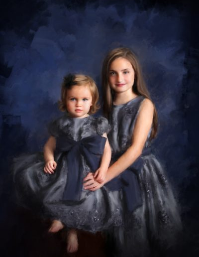 Painting of two little girls wearing purple dresses with a purple and black background