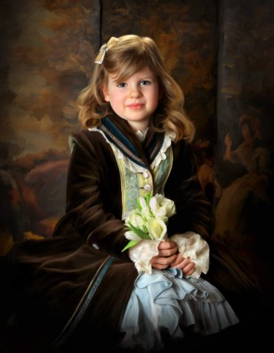 Portrait of a young girl wearing Victorian clothing sitting on a chair with a painted background