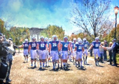 Painting of a football team walking through the park