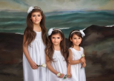 Painted portrait of three young girls standing on beach with the seaside in the background