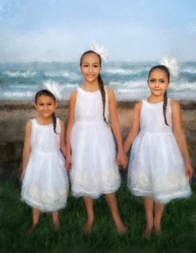 Painting of three girls wearing white dresses holding hands with the ocean behind them
