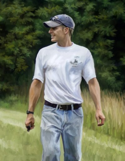 Painting of a man wearing a white t-shirt and blue jeans standing on grass
