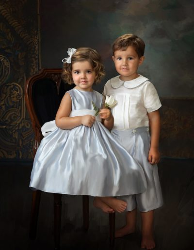 Painted portrait of a little boy standing next to a little girl sitting in a chair