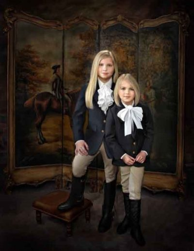 Painted portrait of two little girls wearing horse riding outfits posing in front of a room divider with picture of man riding horse on it