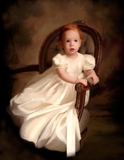 Painted portrait of a little red head girl sitting in an antique chair