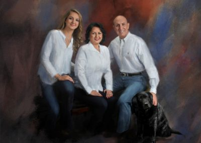 Painting of of young woman sitting on a bench with her parents all wearing white shirts and blue jeans with a black dog sitting on the floor