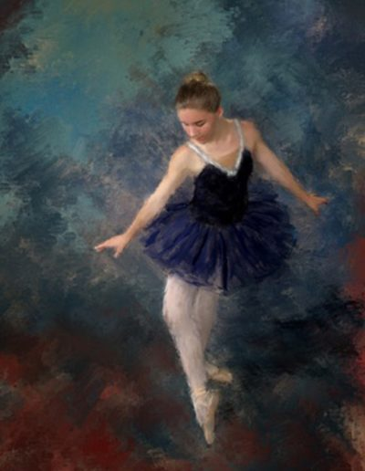 Painting of a young ballerina doing the curtsy
