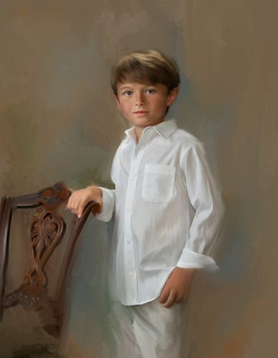 Painting of a young boy posing next to an old chair