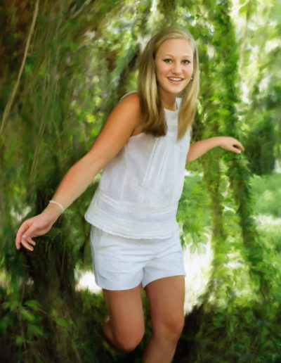 Painting of a young woman wearing white shirt and shorts is coming out of vines and ivy