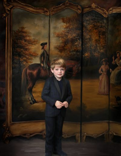 Painted portrait of a young boy standing in front of a room divider with a painting of a man on a horse on it